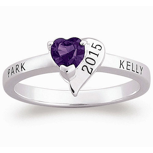 Personalized Sterling Silver Crystal Heart Class Ring