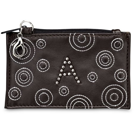 (LAYLA - Brown Stitched Circles and Studded Letter Initial Coin Purse)