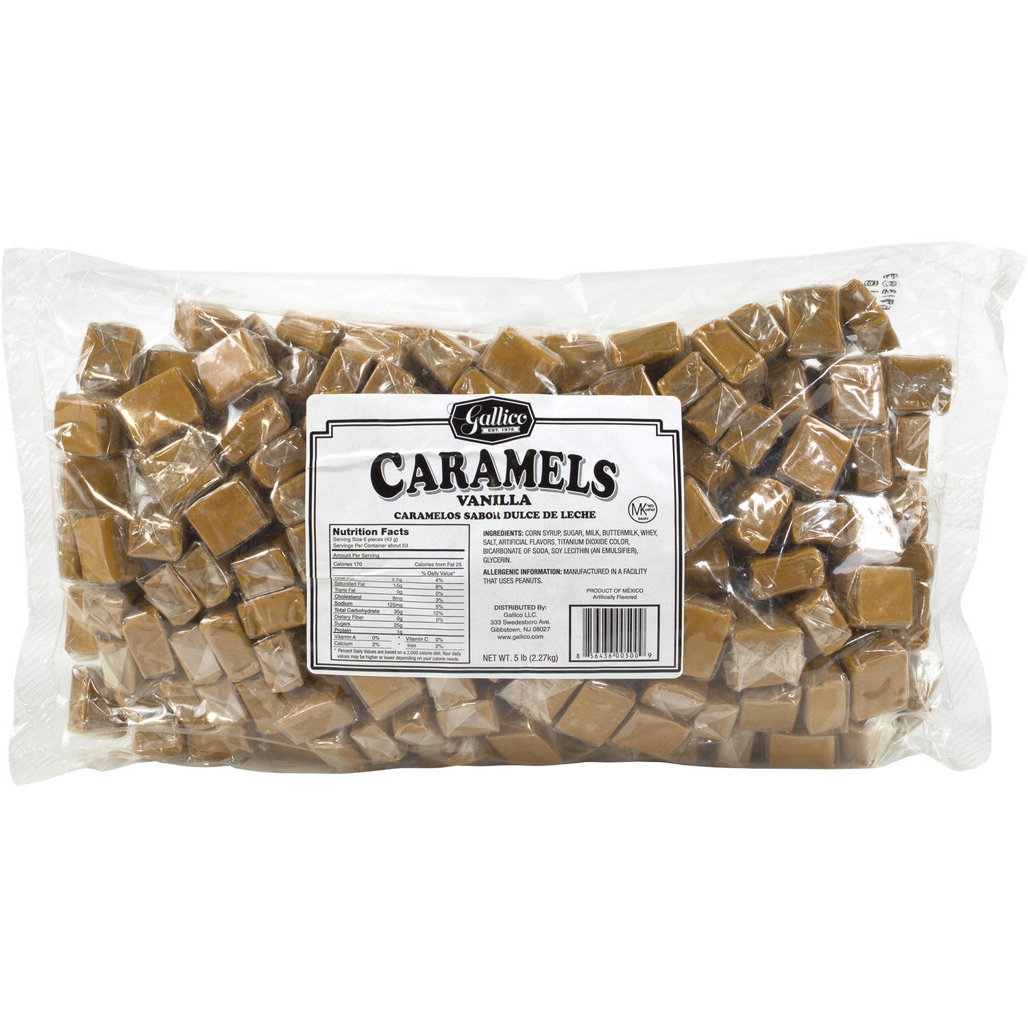 Gallico Vanilla Caramels, 5 lbs by