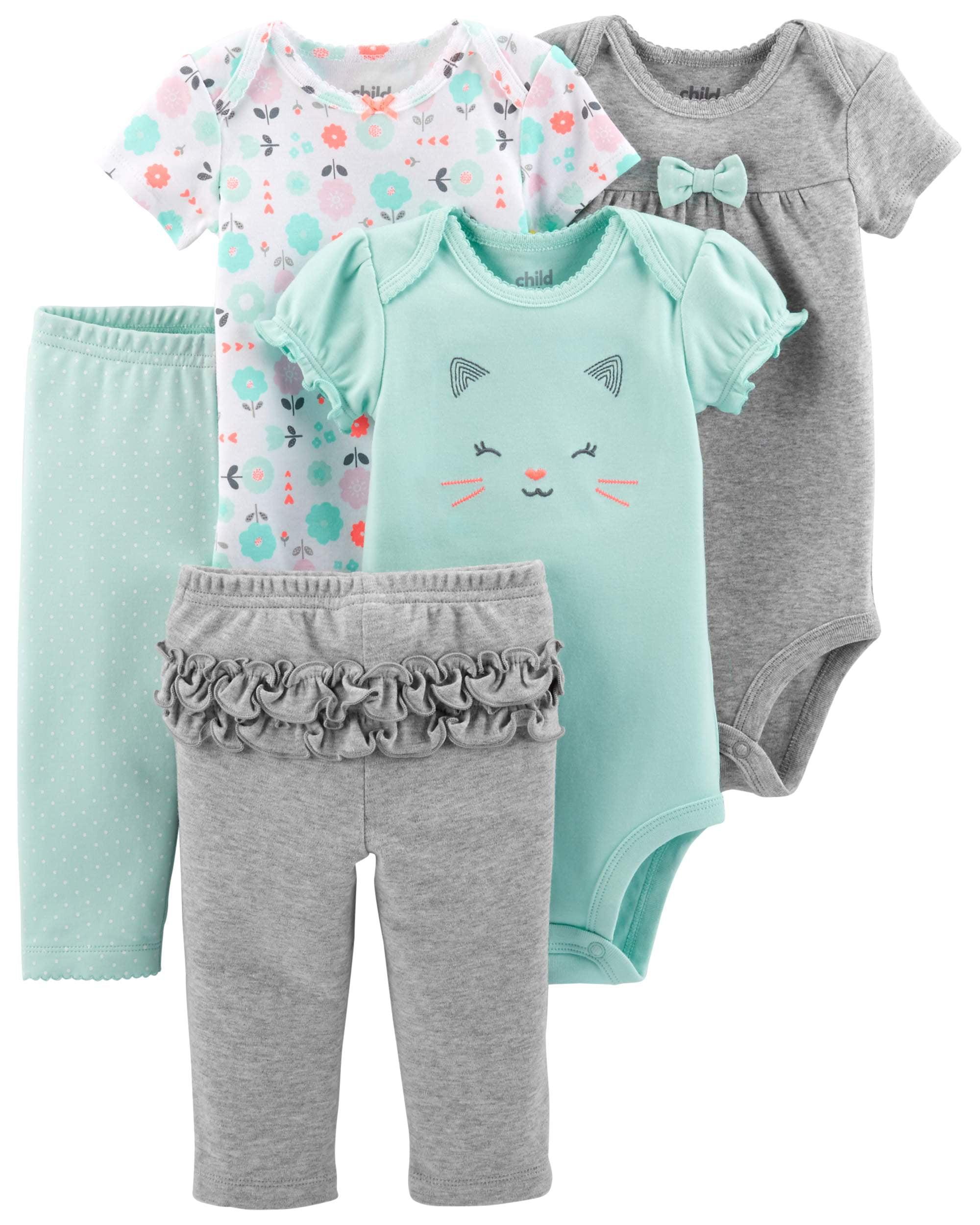 Short Sleeve Bodysuits & Pants, 5pc Set (Baby Girls)