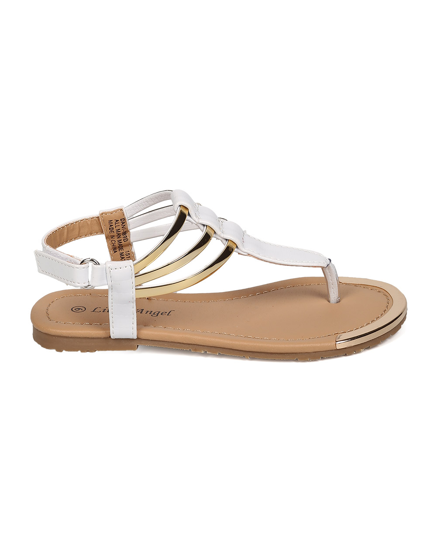 New Girl Little Angel Dani-889D Polished PU T-Strap Metallic Ankle Cuff Sandal