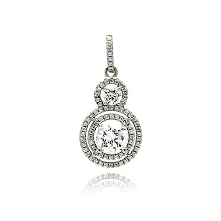 Clear Prong Set Cubic Zirconia Graduated Circle Pendant Rhodium Sterling Silver