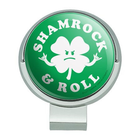 Shamrock and Roll Irish Rock Funny Humor Golf Hat Clip With Magnetic Ball Marker Magnetic Ball Marker