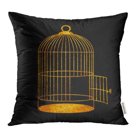 ARHOME Yellow Cage of Golden Birdcage with Open Door Ancient Antiquarian Antique Black Pillowcase Cushion Cover 18x18 inch Antique Gold Finish Bird
