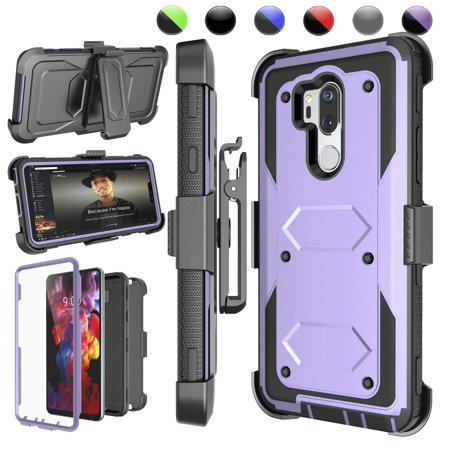 LG G7 ThinQ Case, LG G7 Case, LG G7 ThinQ Holster Clip, Njjex [Purple] [Built-in Screen Protector] & Kickstand + Holster Belt Clip [Heavy Duty] Carrying Armor Case For LG LM-G710 / LG G7 (2018)