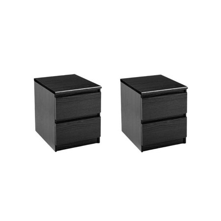 Home Square (Set of 2) 2 Drawer Night Stands in Black Woodgrain