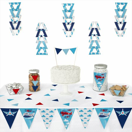 Taking Flight - Airplane - Triangle Vintage Plane Baby Shower or Birthday Party Decoration Kit - 72 - Vintage Birthday Party