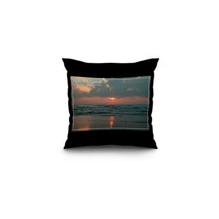 Padre Island National Seashore - Dawn - Lantern Press Photography (16x16 Spun Polyester Pillow, Black