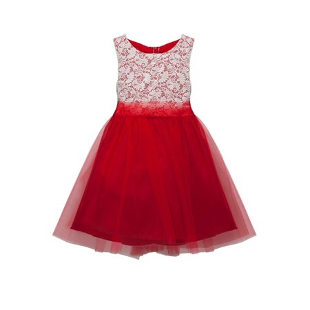 Kids Dream Girls Red Lace Tulle Plus Size Junior Bridesmaid Dress ()