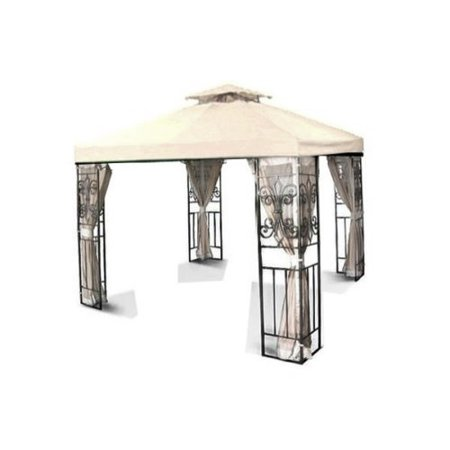 8' x 8' Gazebo Canopy Top Replacement Cover (Ivory) - Dual Tier Up Tent Accessory with Plain Edge Polyester UV30 Protection Water Resistant for Outdoor Patio Backyard Garden Lawn Sun Shade Dual Power Feed Canopy