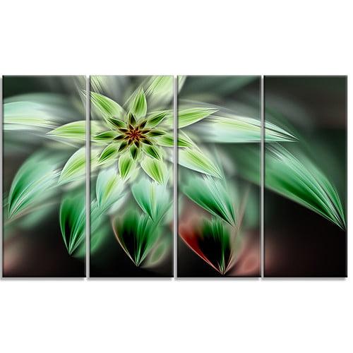 Design Art 'Green Flower Fractal Artwork' 4 Piece Graphic Art on Wrapped Canvas Set by