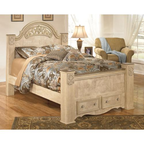 Signature Design by Ashley Saveaha Light Beige Storage Poster Bed Light Beige King Poster Storage Bed
