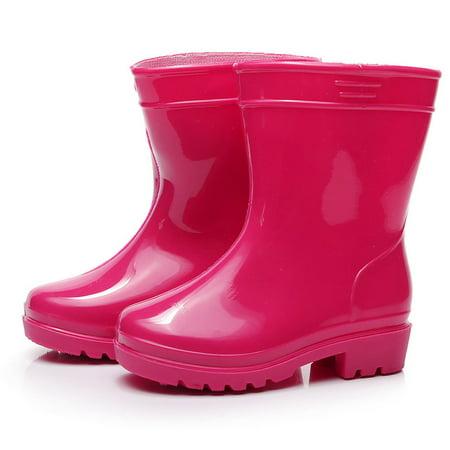 (DZT1968 Waterproof Child Solid Rubber Infant Baby Rain Boots Kids Children Rain Shoes)