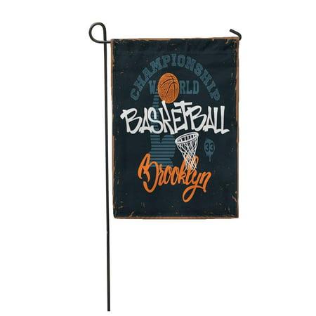 LADDKE Boy Basketball for Apprel Tee Vintage Brooklyn College NYC Garden Flag Decorative Flag House Banner 12x18 inch