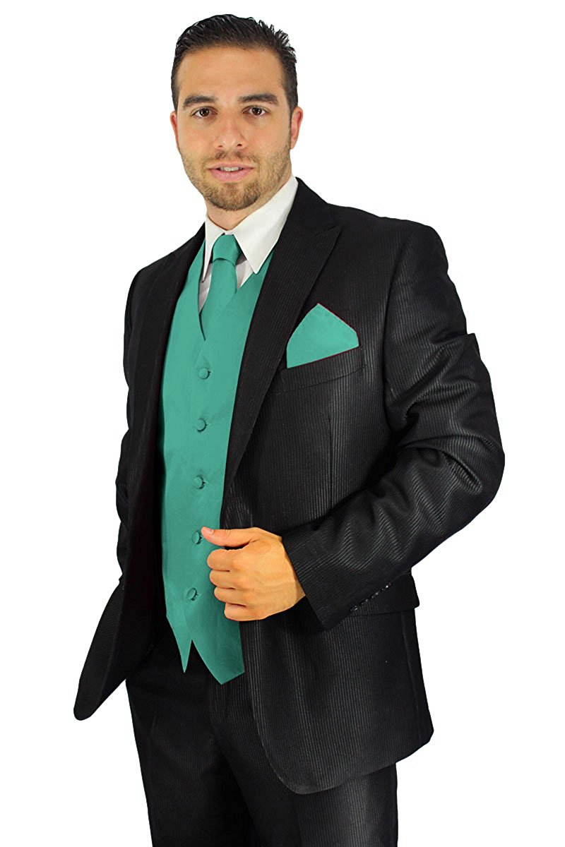 Enimay Men's Combo Pack 3pc Set Solid Vest Tie Hankerchief Prom Wedding Formal Torquoise Size M