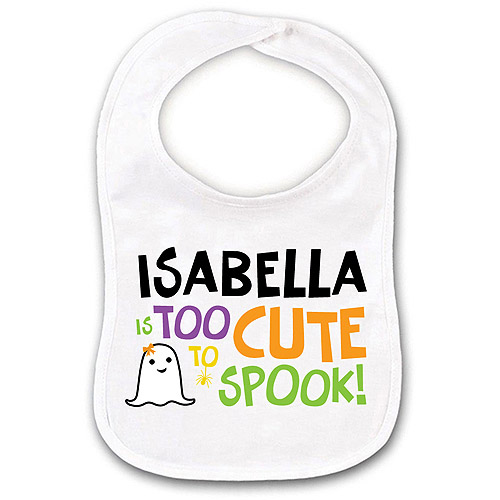 Personalized Too Cute to Spook Girl Ghost Bib