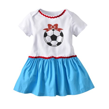 Mosunx Toddler Infant Baby Girl Dress Soccer Print Russia Footall Romper Dresses Outfit