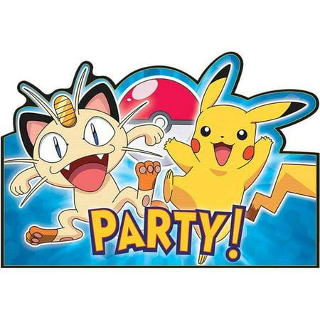 Pokemon Party Invitation Postcards, 8ct - Pokemon Party Supplies