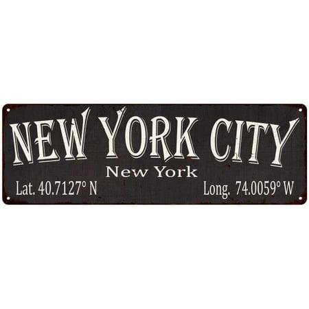 New York City Latitude & Longitude Black Metal Sign 6x18 6180409 ()