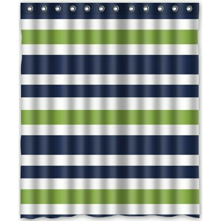 Hellodecor Navy Blue Green And White Stripe Shower Curtain