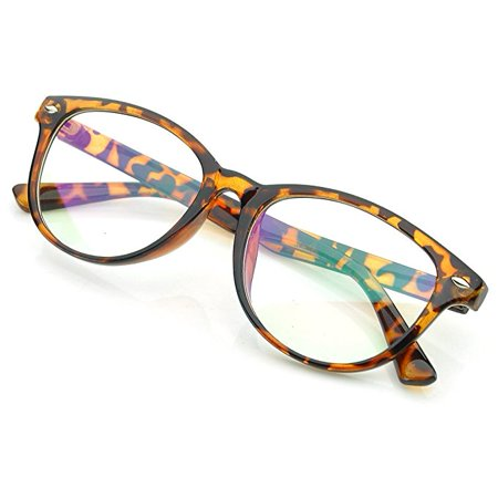 Fashion Retro Unisex Mens Womens Tortoise Clear Lens Nerd Geek Glasses Eyewear !