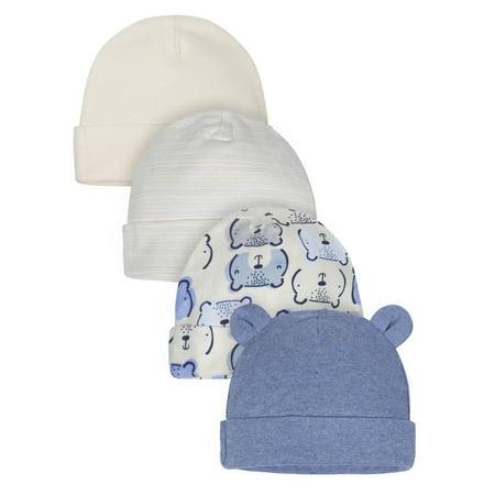 Gerber Organic Cotton Caps, 4pk (Baby Boys)