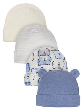 Gerber Organic Cotton Caps, 4pk (Baby Boys)