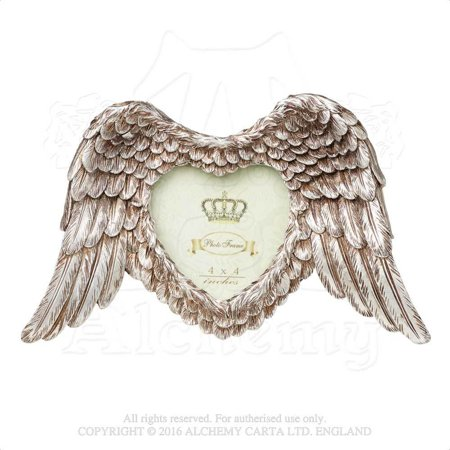 "RBI Picture Frame Angel Wings in Open Formation Display Cherished One Holds 4"" x 4"" Image Victorian Gothic Romance"