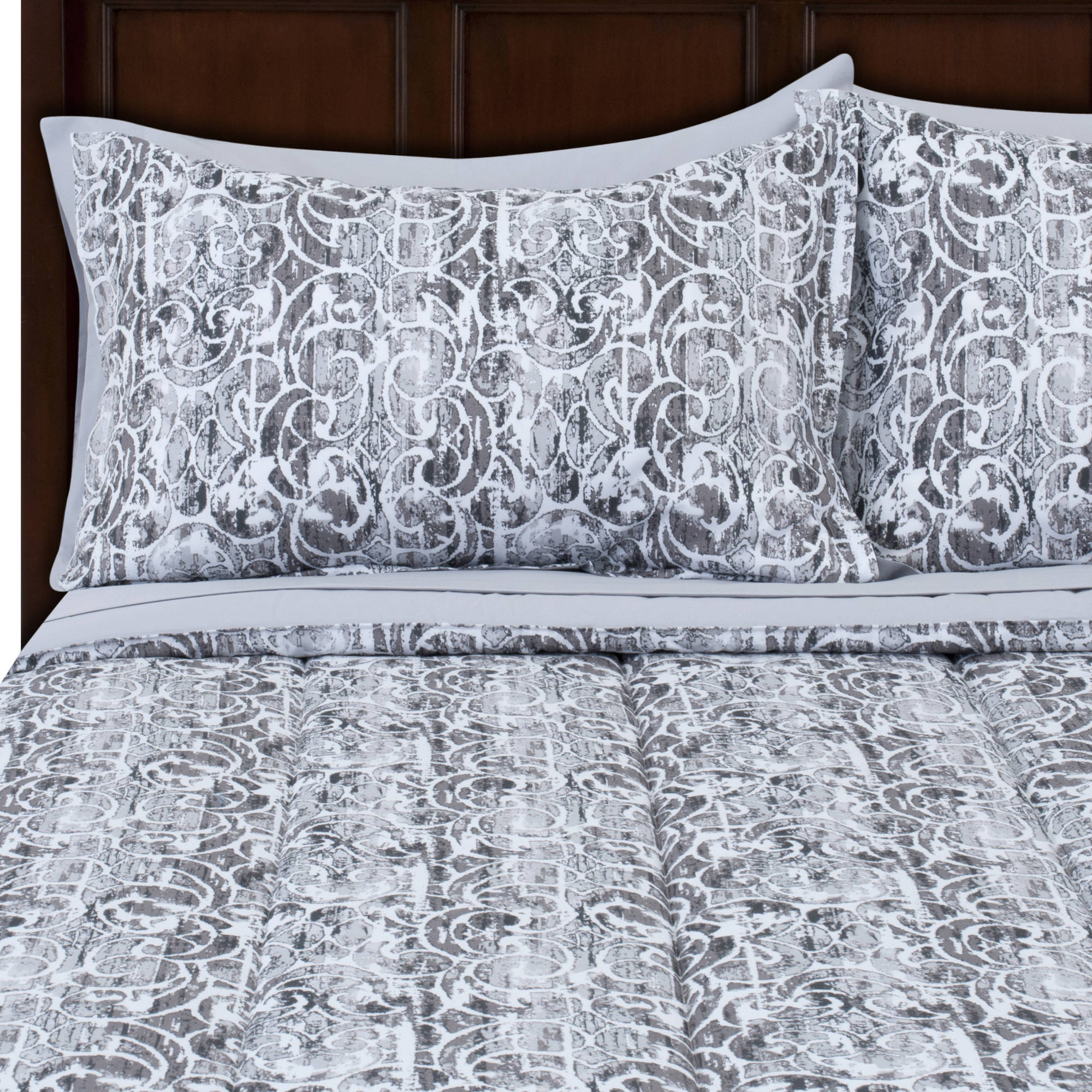 Mainstays Grey Scroll Bed in a Bag Complete Bedding Set