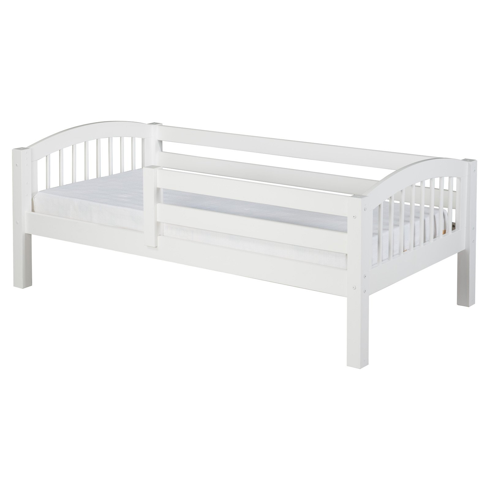 Camaflexi Twin Size Day Bed with Front Guard Rail & Twin Trundle Arch Spindle Headboard White Finish by EcoFlex Furniture