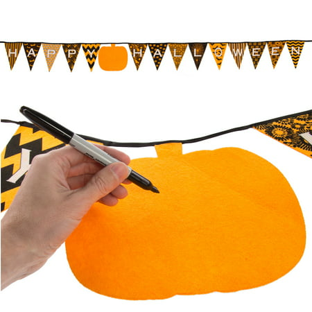 One Step Ahead (10ft) Happy Halloween Decoration Hanging Banner Felt Pennant Pumpkin Bunting Kid Party Décor - Happy Halloween Printable Decorations