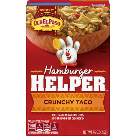 Betty Crocker Hamburger Helper Crunchy Taco Hamburger Helper 7.6 Oz Crunchy Taco Hamburger Helper is made with 100% REAL cheese and Mexican-style spices for the zesty taste you love most. Our products are made with NO artificial flavors or colors from artificial sources. Add Your Own Twist! Add some pizzazz! Just before serving, stir in salsa and sprinkle with shredded cheese and fresh chopped cilantro.