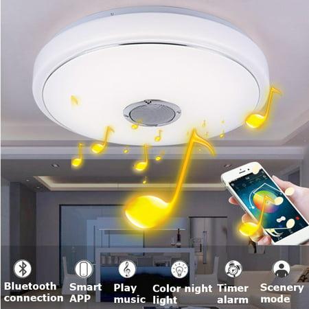 48W 36 LED Music Ceiling Lighgt LED bluetooth Speaker, Flush Mount Modern Ceiling Down Light Lamp Fixture, APP Remote Control, Home Decor Wedding Party Bedroom Living Room 110V/22](Celing Decor)