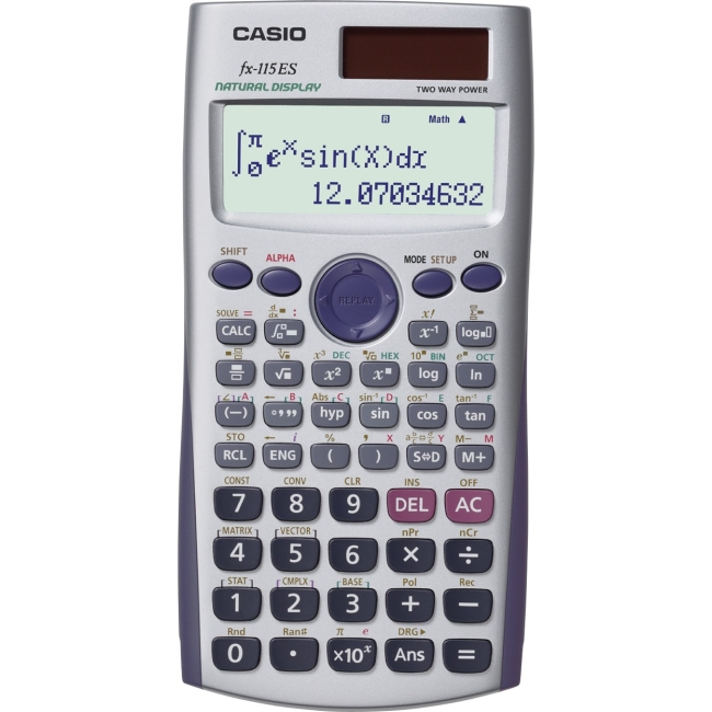 Casio FX-115ES Scientific Calculator - Textbook Display, Dual Power, Battery Backup - Battery/Solar Powered - Black - Plastic