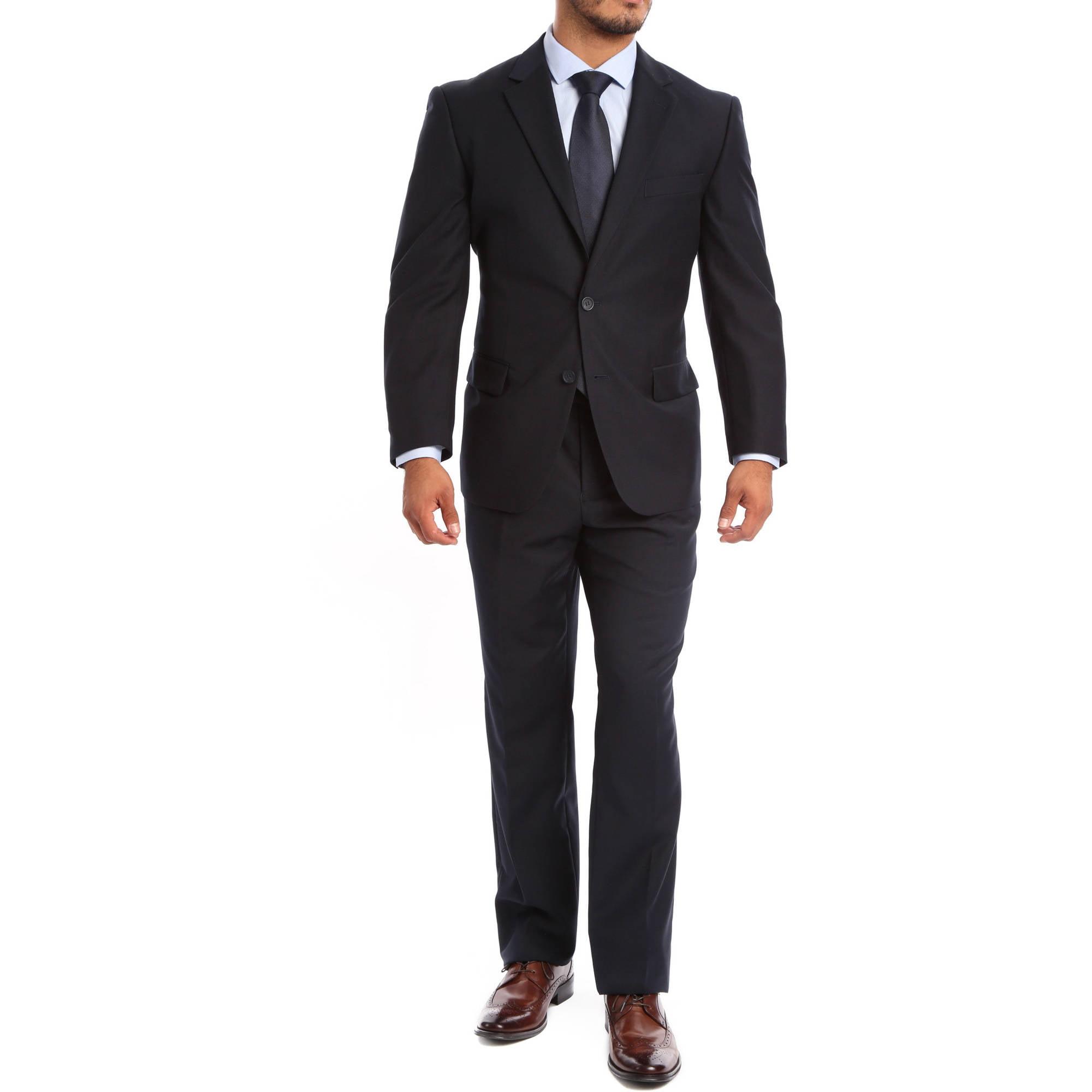 Verno Albani Big Men's Dark Navy Classic Fit Italian Styled Two Piece Suit