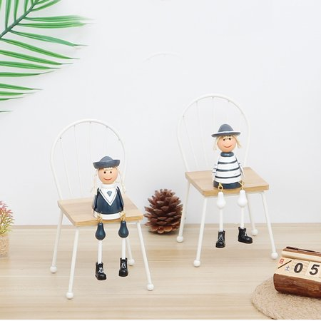 European Solid Wood Small Chair Creativity Wooden Crafts Micro Landscape Photography Props Home Living Room Tabletop Decorations