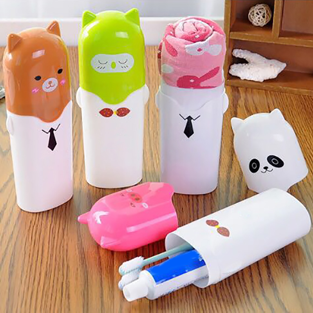Moderna Portable Cute Cartoon Travel Toothbrush Toothpaste Towel Storage Box with Cover