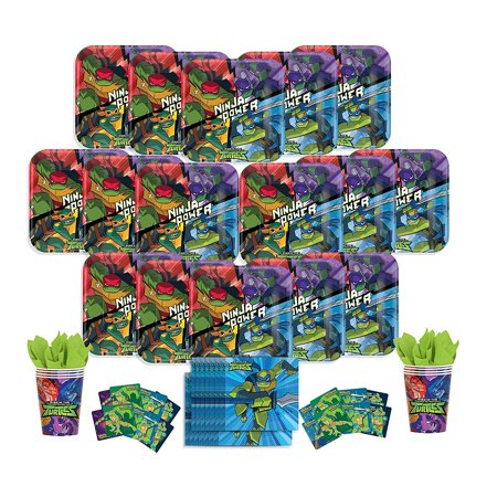 B-THERE Rise of The Teenage Mutant Ninja Turtles Party Pack - Seats 16: Napkins, Plates, Cups and... - Sweet 16 Plates And Napkins