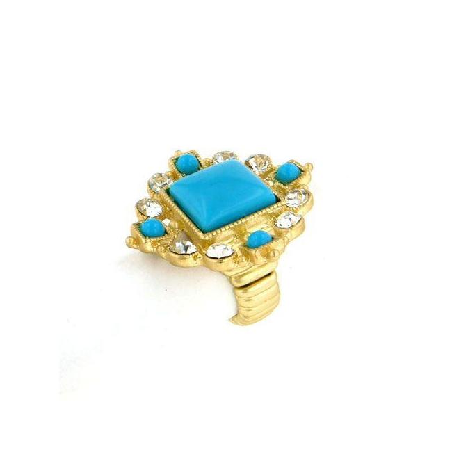 Zirconmania 622R-0052GTQ Goldtone Turquoise Cabochon and Crystal Stretch Ring