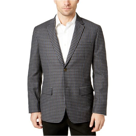 Tasso Elba Mens Checked Two Button Blazer Jacket Tasso Elba Mens Single