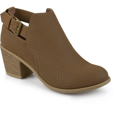 Brinley Co. Women's Laser Dot Buckle Booties