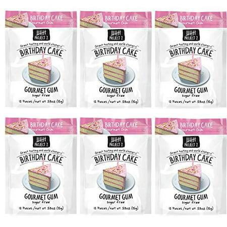 Project 7 Sugar Free Gum 0.53oz (Birthday Cake, 6 Pack) ()