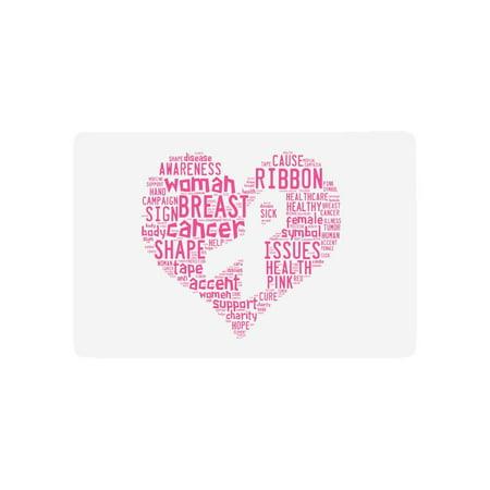 Breast Cancer Decor (MKHERT Pink Breast Cancer Awareness Ribbon with Inspirational Quotes Doormat Rug Home Decor Floor Mat Bath Mat 23.6x15.7)