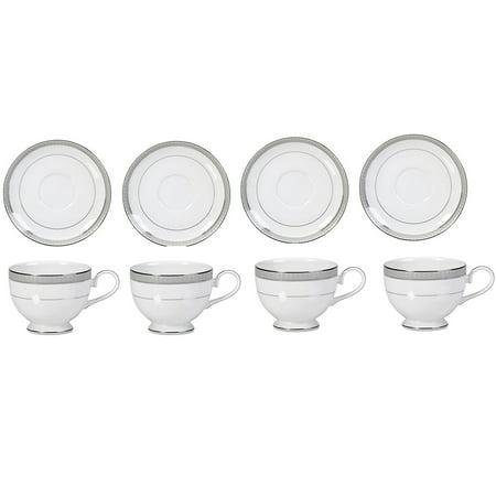 Mikasa Teacup - Mikasa Platinum Crown Tea Cups and Saucers set of 8 Service for 4