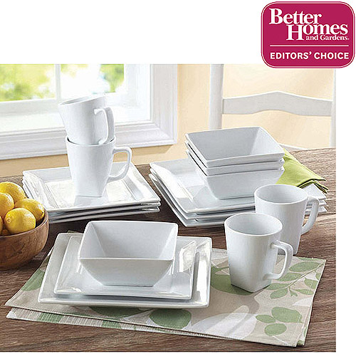 Better Homes and Gardens 16-piece Square White Porcelain Dinnerware Set  sc 1 st  Walmart : better homes and garden dinnerware - pezcame.com