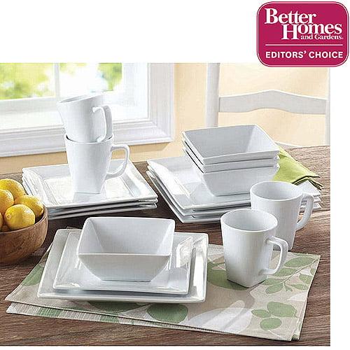 Better Homes and Gardens Square 16 Piece Porcelain Dinnerware Set