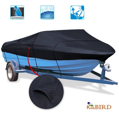 - KING BIRD Waterproof Heavy Duty 600D Polyester Boat Cover with Quick-release Adjustable Buckle, Fits for V-Hull, Tri-Hull, Runabout Boat, Storage Bag Included, 17-19ft (Dark Gray)