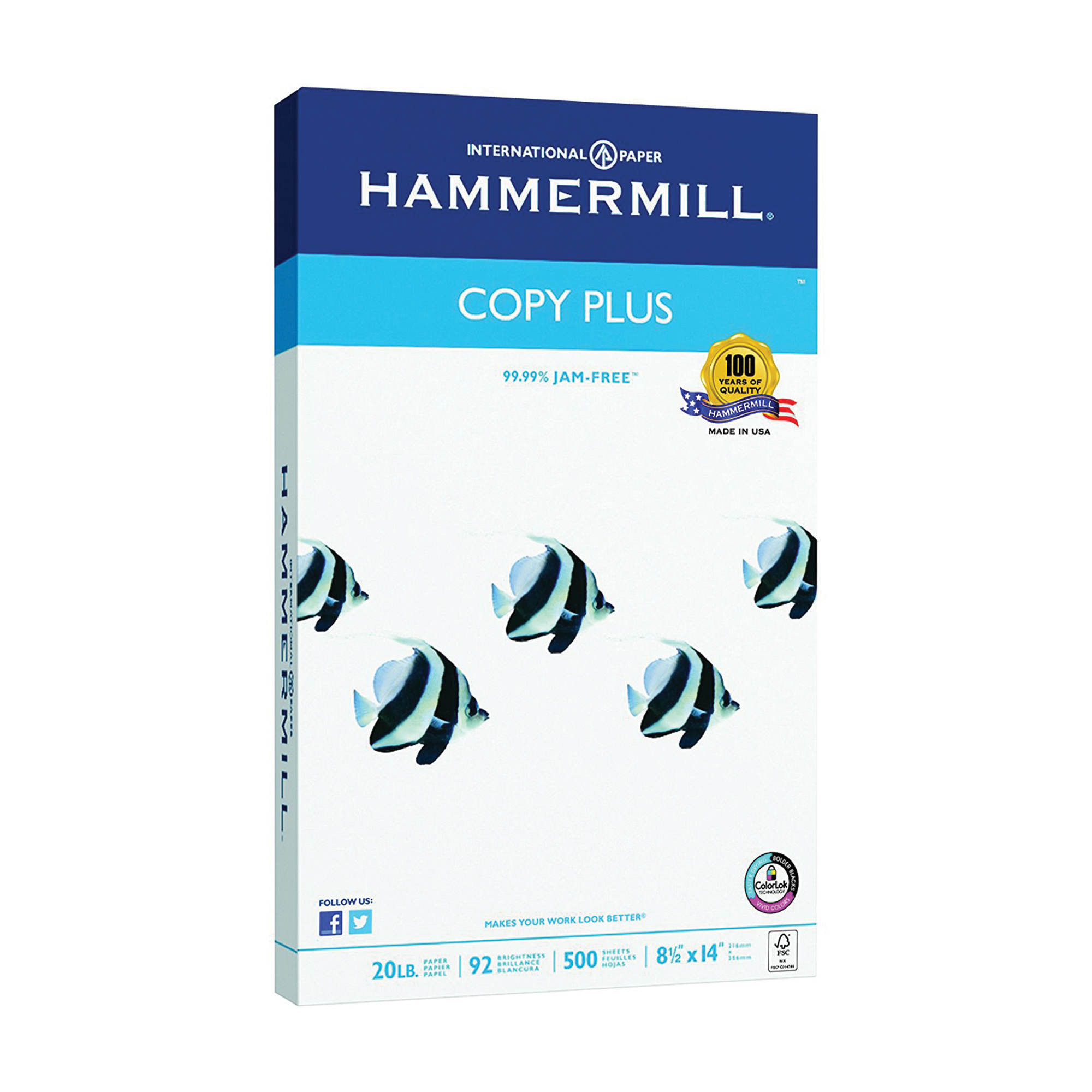 Hammermill Paper, Copy Paper Poly Wrap, 20lb, 8.5 x 14, legal, 92 Bright, 500 Sheets / 1 Ream (150400R)