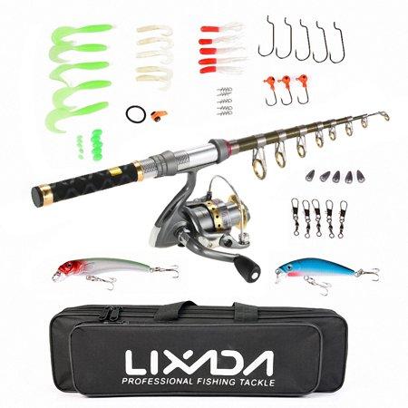 Lixada 99% Carbon Fiber Telescopic Fishing Rod and Reel Combo Full Kit Spinning Fishing Reel Fishing Line Lure Gear Organizer Pole Set