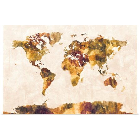 Watercolor Map Of The World (Great BIG Canvas   Rolled Michael Tompsett Poster Print entitled Map of the World Map Watercolor)